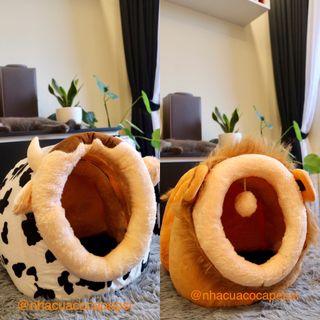 Nhà cho chó mèo hình bò sữa sư tử tặng kèm nệm nhỏ gối khăn trùm ngủ giá sỉ