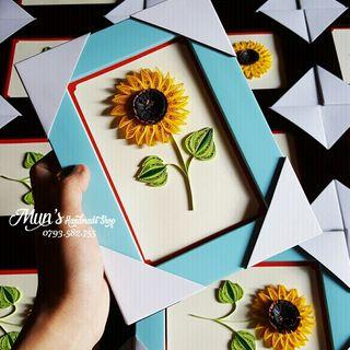Khung tranh giấy xoắn hoa hướng dương handmade giá sỉ
