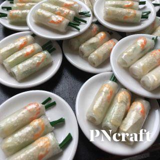 Nam châm dán tủ lạnh mô hình món ăn bằng đất sét Mẫu gỏi cuốn tôm thịt giá sỉ