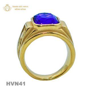 Nhẫn Nam Titan Mạ Vàng 24k Mặt Đính Đá Xanh - Trang Sức Hava Hồng Kong HVN41 giá sỉ
