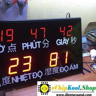 Đồng hồ treo tường led Nhiệt Độ - Độ ẩm - Thời gian thực - KT 45 x 76 x 5 cm giá sỉ