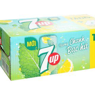 Thùng 28 lon nước giải khát 7Up Mojito hương chanh bạc hà 330ml giá sỉ