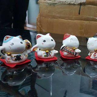 Set 5 chú mèo thần tài Maneki Neko may mắn giá sỉ