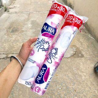 Bông tẩy trang Aura 150 miếng 100 Cotton giá sỉ