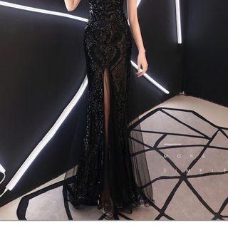 Đầm dạ hội ren thiết kế xẻ tà giá sỉ