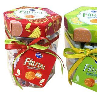 Kẹo cứng Arcor Rellenos Frutales 300gr - Hũ Nhựa Lục Giác Mẫu Tết 2020 giá sỉ