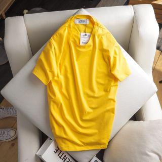 áo thun nam trơn 100 cotton màu vàng giá sỉ