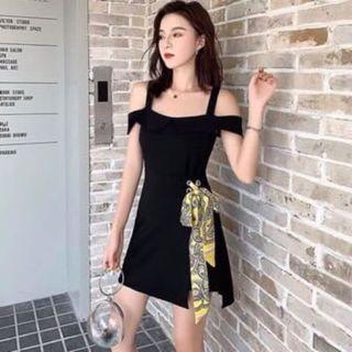 Đầm mini black nhấn eo giá sỉ