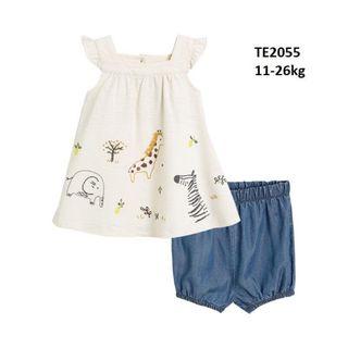 Đồ Bộ bé gái áo thun cánh tiên thêu vườn thú dễ thuơng quần vải denim mềm mát giá sỉ