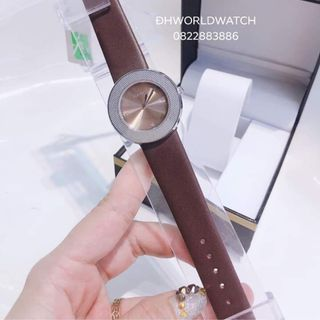 Đồng hồ nữ GUOU 6013 dây da trơn viền bạc giá sỉ