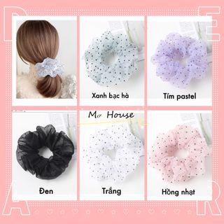 Cột tóc scrunchies chấm bi giá sỉ