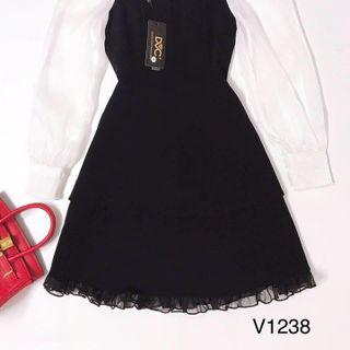 Đầm thiết kế đen phối tay trắng giá sỉ