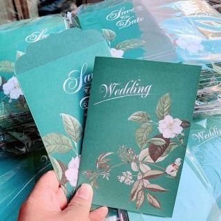 Thiệp cưới xanh lá giá sỉ