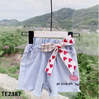 Quần short Jean buộc nơ mềm mại TE2387 giá sỉ