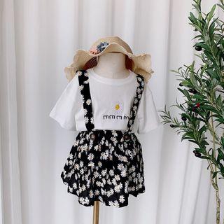 Set áo thun mix váy yếm hoa cúc trắng giá sỉ