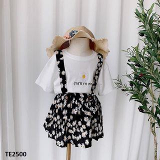 Set chân váy hai dây hoa cúc + áo thun cộc tay TE2500 giá sỉ