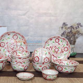 [sale sale sale] bộ bát đĩa cúc đỏ giả cổ tuyệt đẹp trang trí bàn ăn gia đình sang trọng và đẳng cấp - XƯỞNG GỐM VIỆT giá sỉ