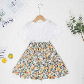 Váy hoa nhí phối áo thun, chân váy màu xanh TE2534 giá sỉ