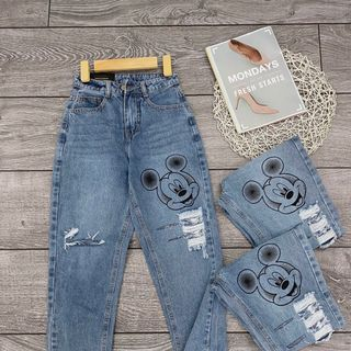 Quần baggy jean nữ in MS91 xưởng sỉ jean nam nữ 2KJean giá sỉ