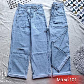 Quần jean nữ ống suông rách MS101 kho chuyên sỉ jean nam nữ 2Kjean giá sỉ