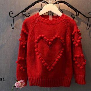 Áo thun len bé gái phối bông hình trái tim cao cấp TE1851 giá sỉ