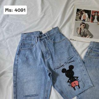 Quần ngố jean nữ in hình mickey MS4091 giá sỉ