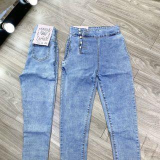 Quần jean nữ nút kiểu form ôm co giãn kho chuyên sỉ jean nam nữ 2KJean giá sỉ