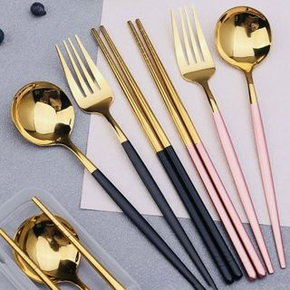 Set 3 Món Muỗng Đũa Nĩa Cơm Trưa Phủ Bóng Mạ Vàng Sang Trọng giá sỉ