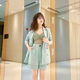 [Cao Cấp ] (Chuẩn Hàng May Đo ) Set Áo Vest Áo Blazer Nữ - Form Slimfit- Mix Short Ống Rộng giá sỉ