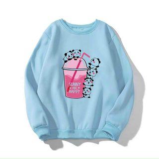 Áo sweater in hình hộp sữa + ly trà sữa chất pe dày mịn giá sỉ