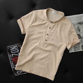 Áo Đũi Nam Cộc Tay Cổ Tàu Phong Cách Trẻ Trung Nam Tính Chất Liệu Đũi Nhẹ Thoáng Mát - AC92 giá sỉ
