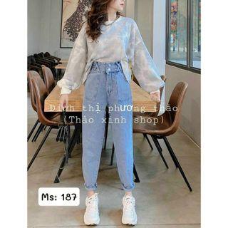 Quần baggy jean nữ lưng cao túi kiểu MS187 giá sỉ