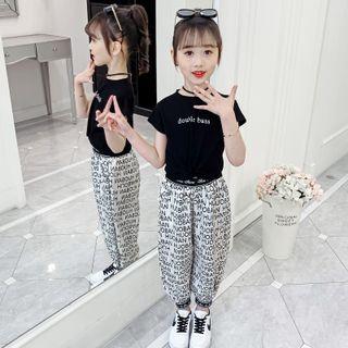 Bộ bé gái áo thun vạt chéo mix quần in chữ chun gấu TE3054 giá sỉ