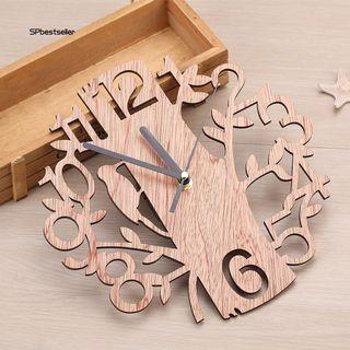 Đồng hồ treo tường hình cây và chim bằng gỗ giá sỉ