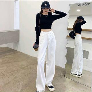 Quần baggy jean nữ lưng cao ống rộng giá sỉ