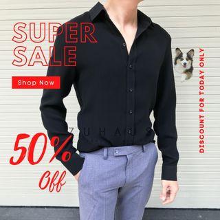 Áo sơ mi nam form fit đen vải nhập Hàn Quốc không nhăn (Hàng thiết kế - Zuhaus) giá sỉ