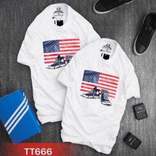 Áo thun hình cờ Mỹ giá sỉ