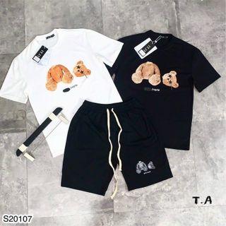 Bộ thun nam, Set bộ quần áo unisex in hình gấu độc lạ chất liệu thun lạnh co giãn 4C - BN306 giá sỉ