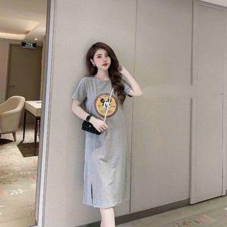 Đầm suông chất cotton in hình đơn giản tay ngắn chiều dài váy đến bắp chân form basic dễ mặc giá sỉ