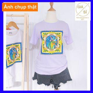Áo thun nữ in họa tiết cách điệu thun cotton dáng basic dễ mặc freesize giá sỉ