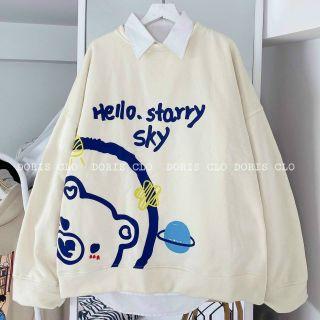 Áo sweater nỉ ngoại in tay phồng form chuẩn mềm siêu đẹp giá sỉ