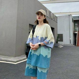 Đồ bộ mặc nhà in 3D loang chất thun lạnh co giãn thoáng mát giá sỉ