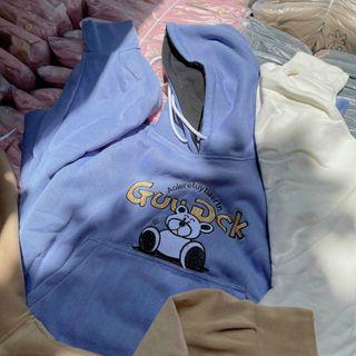 Áo hoodie chống nắng tránh mưa chất thun nỉ ngoại hình logo in GUUDCK form dưới 70kg tay phồng cánh dơi giá sỉ