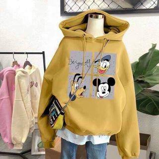 Áo hoodie chống nắng tránh mưa chất thun nỉ ngoại hình logo in hoạt hình form dưới 70kg tay phồng cánh dơi đẹp giá sỉ