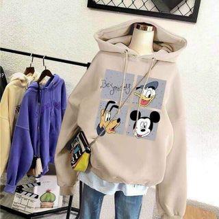 Áo hoodie chống nắng tránh mưa chất thun nỉ ngoại hình logo in hoạt hình form dưới 70kg tay phồng cánh dơi giá sỉ