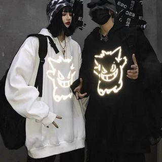 Áo hoodie in phản quang màu bạc thun nỉ ngoại decal in xịn form dưới 70kg giá sỉ