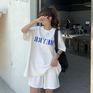 Đồ bộ mặc nhà in chữ MEYRR thun cotton thoáng mát form dưới 70kg giá sỉ