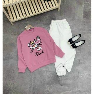 Áo sweater nỉ ngoại in chú báo hồng cute, cá tính giá sỉ