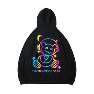 Áo Hoodie phản quang 7 màu THE SPACE OF BEAR form dưới 70kg decan in xịn giá sỉ - giá bán buôn giá sỉ