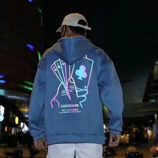 Áo Hoodie phản quang 7 màu POKER form dưới 70kg decan in xịn giá sỉ - giá bán buôn giá sỉ